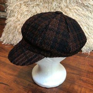 Vintage Plaid Newsboy Cabbie Hat & Scarf S…
